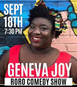 Geneva Joy performing comedy at Rott n' Grapes RoRo September 18