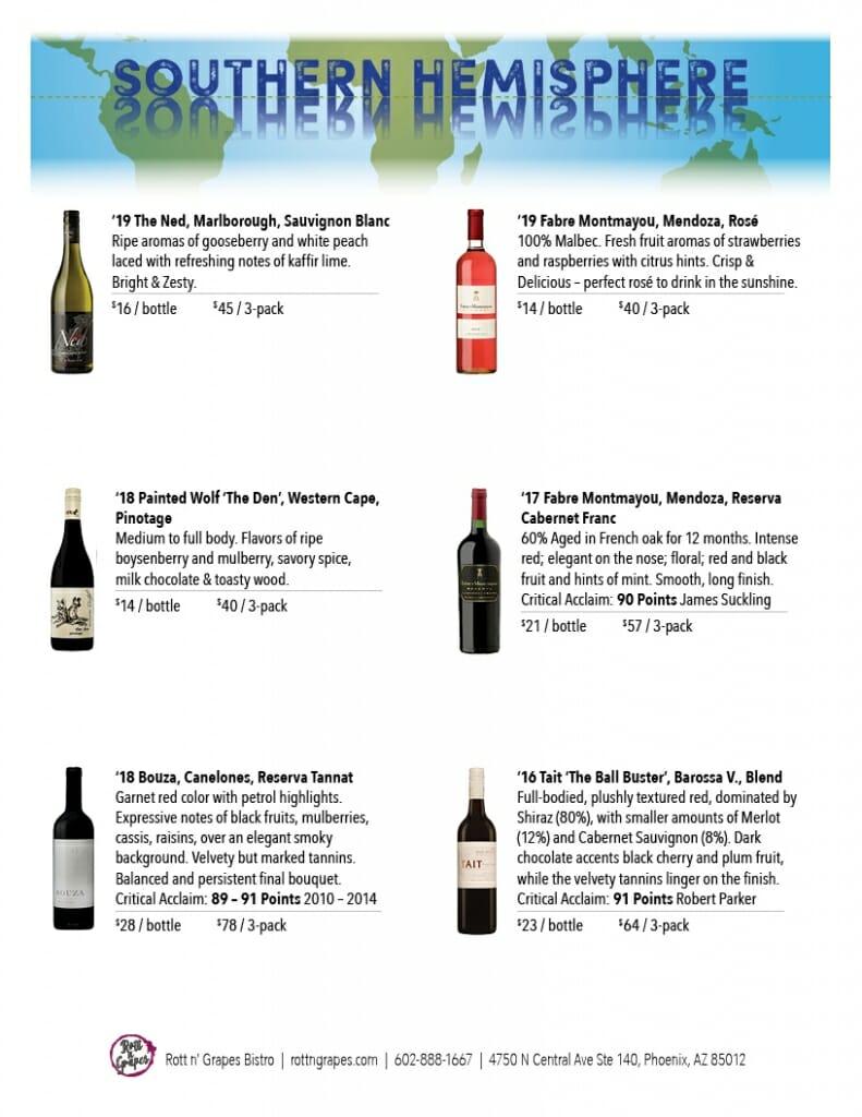 Southern Hemisphere tasting price sheet