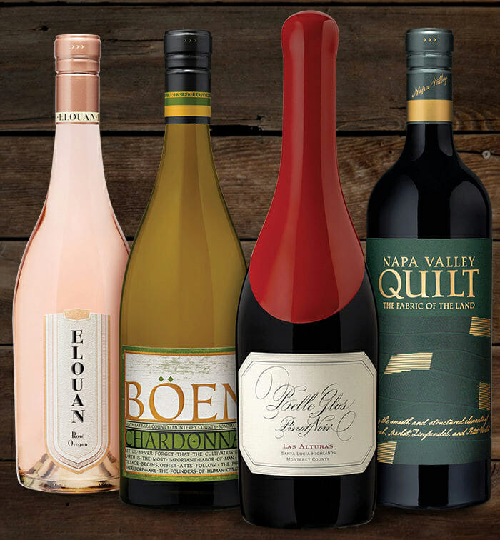 "Elouan Oregon Rose | Böen Chardonnay | Belle Glos Las Alturas Pinot Noir | Napa Valley Quilt ""Fabric of the Land"" Red Blend"