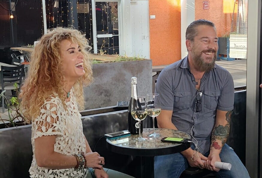 Patty and kevin present rosé wines on the patio June 4