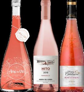 3 rosés tasting on patio