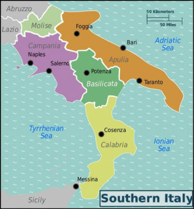 map - Southern Italy