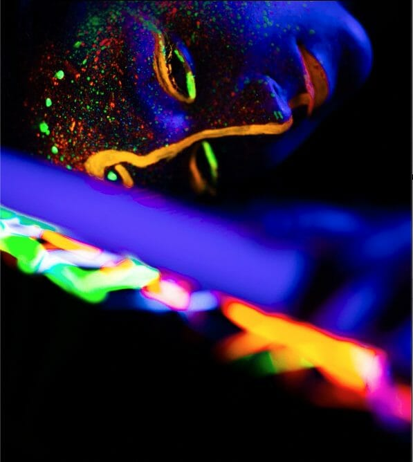 glow paint on face yoga